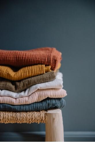 Grand plaid drap double gaze de coton rose, rouille, blanc, bleu, jaune, kaki