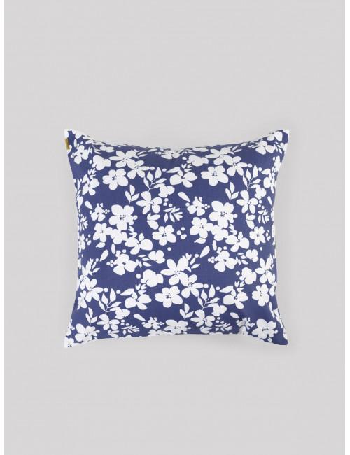 Coussin bleu fleurs blanches broderie dorée Les pensionnaires