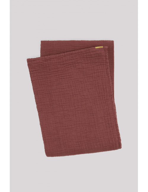 Grand plaid drap double gaze de coton rouille Les pensionnaires